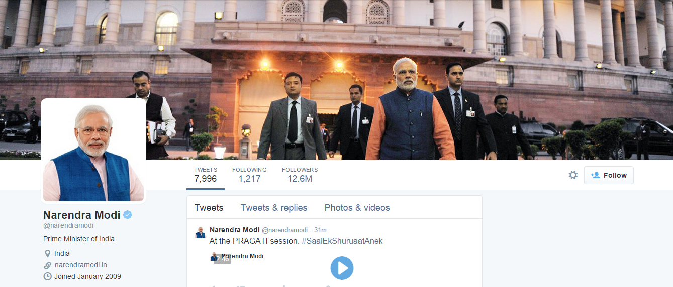 Citizen Engagement in 2015: Narendra Modi uses Twitter to celebrate achievements