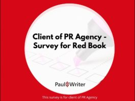 Client of PR Agency - Survey for Red Book