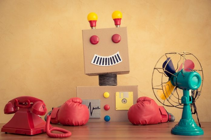 Funny toy robot. Innovation technology and creative concept