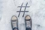 Social Media-Girls standing over hashtag concept