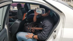 Person using Amazon VR in a Cab