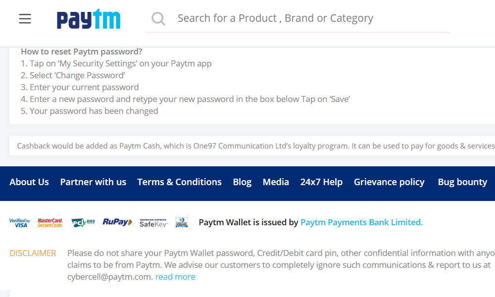 Paytm (Payments - displays its security certificates on the footer)