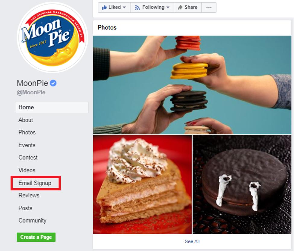 Moonpie's Facebook page: