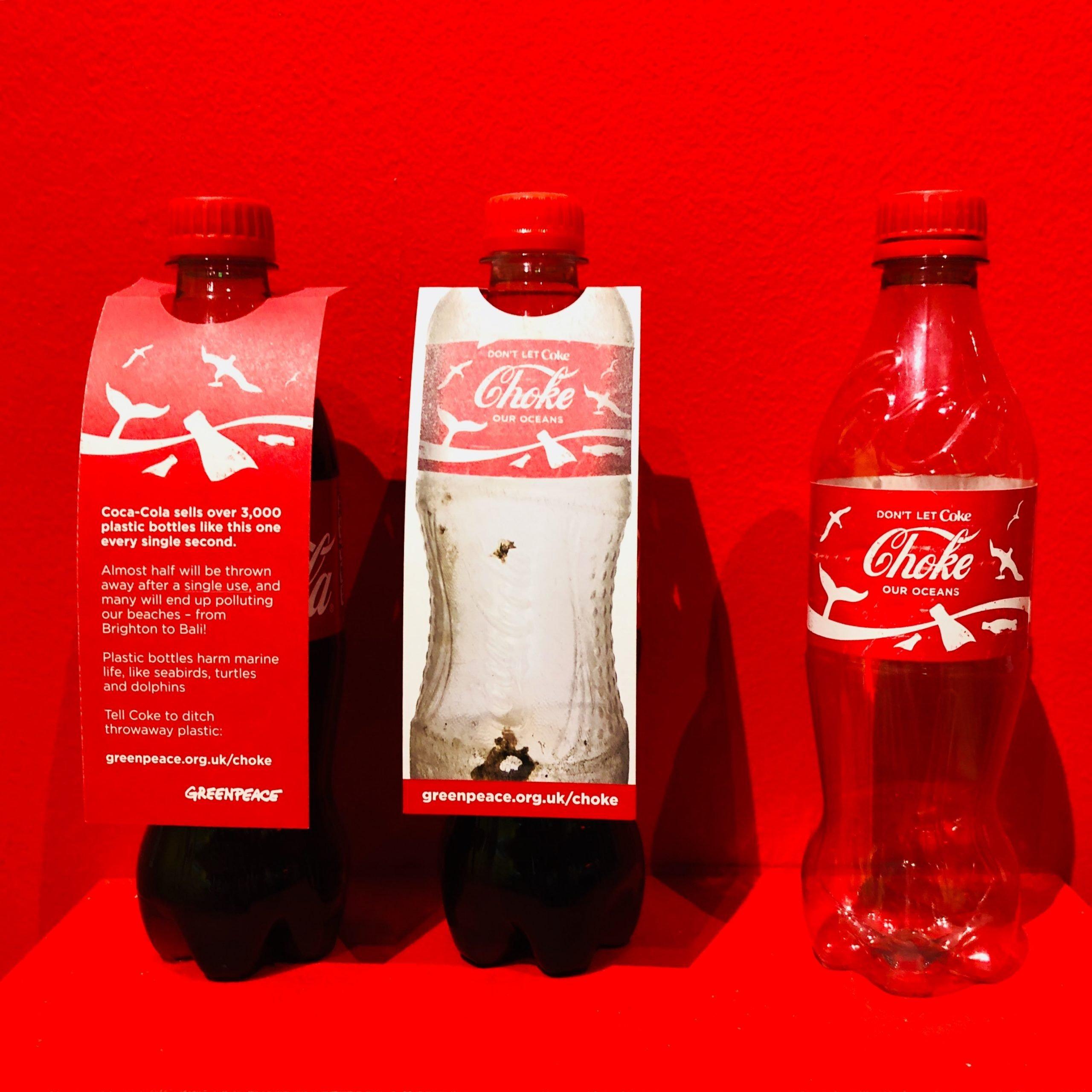 Greenpeace shows how Coke bottles pollute